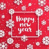 Gelukkige Nieuwjaarskaart met sneeuwvlokken Royalty-vrije Stock Foto