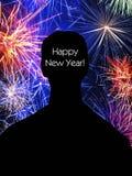 Gelukkige Nieuwjaarskaart met vuurwerk stock foto's