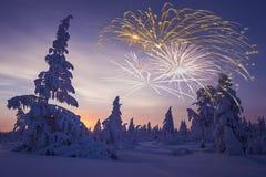 Gelukkige Nieuwjaarskaart met vuurwerk, bos en noordelijke licht Royalty-vrije Stock Foto's