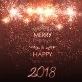 Gelukkige Nieuwjaarskaart, stadium, licht, illustratie Royalty-vrije Stock Fotografie