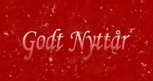 Gelukkige Nieuwjaartekst in de Noorse nyttar draaien van Godt aan stof voor Royalty-vrije Stock Foto's
