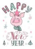 Gelukkige Nieuwjaartekst, hand het getrokken van letters voorzien royalty-vrije stock foto's