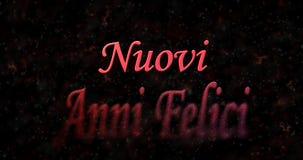 Gelukkige Nieuwjaartekst in het Italiaans Nuovi de draaien van annifelici aan stof Royalty-vrije Stock Foto's