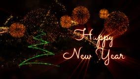 Gelukkige Nieuwjaartekst over pijnboomboom en vuurwerk stock afbeeldingen