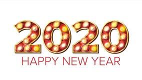 2020 Gelukkige Nieuwjaarvector Markttent Lichte Decoratie Als achtergrond Het Ontwerp van de groetkaart 2020 Licht Teken Gouden w Royalty-vrije Stock Afbeeldingen