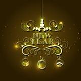 Gelukkige Nieuwjaarviering met glanzend tekstontwerp Stock Foto's