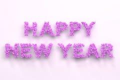 Gelukkige Nieuwjaarwoorden van violette ballen op witte achtergrond Royalty-vrije Stock Foto