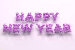Gelukkige Nieuwjaarwoorden van violette ballen op witte achtergrond Stock Fotografie
