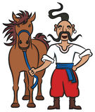 Gelukkige Oekraïense Kozak met een Bruin Paard Stock Fotografie