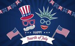 Gelukkige onafhankelijkheid dag de V.S. Vierde van Juli Patriottische attributen, partijuitnodiging vector illustratie
