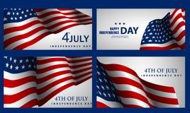 Gelukkige Onafhankelijkheidsdag! Reeks Amerikaanse banners voor 4 van Juli Royalty-vrije Stock Fotografie