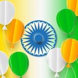 Gelukkige Onafhankelijkheidsdag van India Drie-gekleurde ballen op een witte achtergrond Vorm voor verkoopbanner Vector illustrat Stock Afbeelding