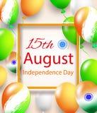 Gelukkige Onafhankelijkheidsdag van India Drie-gekleurde ballen op een witte achtergrond Vorm voor verkoopbanner Vector illustrat Stock Foto