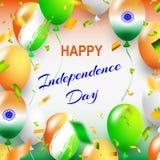 Gelukkige Onafhankelijkheidsdag van India Drie-gekleurde ballen op een witte achtergrond Vorm voor verkoopbanner Vector illustrat Stock Afbeeldingen