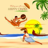 Gelukkige Onam-achtergrond voor Festival van Zuid-India Kerala met Kalaripayattu-dansvorm vector illustratie