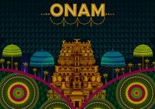 Gelukkige Onam-festivalgroeten om het jaarlijkse Hindoese festival van Kerala, India te merken vector illustratie