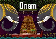 Gelukkige Onam-festivalgroeten om het jaarlijkse Hindoese festival van Kerala, India te merken stock illustratie