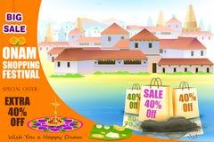 Gelukkige Onam-het winkelen Aanbieding Stock Afbeelding