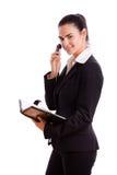 Gelukkige onderneemster die geïsoleerdeu telefoon uitnodigt Royalty-vrije Stock Fotografie