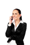 Gelukkige onderneemster die op de telefoon spreekt. Geïsoleerd Royalty-vrije Stock Afbeelding