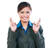 Gelukkige Onderneemster Gekruist Keeping Her Fingers royalty-vrije stock foto's