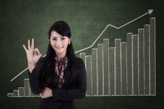 Gelukkige onderneemster met o.k. teken op winstgrafiek stock foto's
