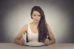 Gelukkige op dieet zijnde vrouw Stock Foto's