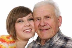 Gelukkige opa en kleindochter Stock Foto