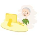 Gelukkige Oude Mens die Computer met behulp van. Royalty-vrije Stock Afbeeldingen