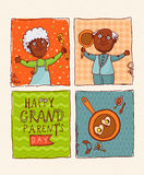 Gelukkige paar Afrikaanse Amerikaanse gepensioneerden Gelukkige grootoudersdag Royalty-vrije Stock Fotografie