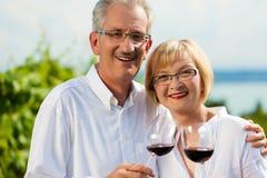 Gelukkige paar het drinken wijn bij meer in de zomer Stock Foto's