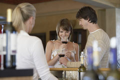 Gelukkige Paar Proevende Wijn Royalty-vrije Stock Foto