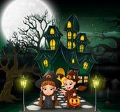Gelukkige paarheks voor het spookhuis met volle maanachtergrond royalty-vrije illustratie