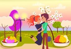 Gelukkige Paaromhelzingen in Park bij Zonsondergangillustratie stock illustratie