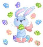 Gelukkige Paashaas De vectorillustratie clipart plaatste voor Pasen-groetkaart, uitnodiging met leuk konijn en Pasen Royalty-vrije Stock Afbeeldingen