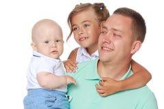 Gelukkige papa met jonge kinderen Royalty-vrije Stock Foto