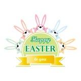 Gelukkige Pasen aan u de groetkaart van het konijntjesbeeldverhaal Stock Fotografie