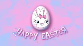 Gelukkige Pasen-aanhangwagen 30 van de animatietitel FPS-bellen roze babyblue royalty-vrije illustratie