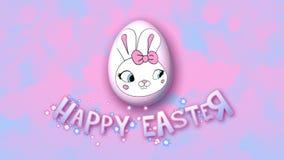 Gelukkige Pasen-aanhangwagen 50 van de animatietitel FPS-bellen roze babyblue stock illustratie