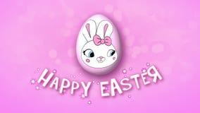 Gelukkige Pasen-aanhangwagen 30 van de animatietitel FPS-bellenroze stock illustratie