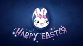 Gelukkige Pasen-aanhangwagen 30 van de animatietitel FPS-donkerblauwe bellen stock illustratie