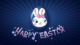 Gelukkige Pasen-aanhangwagen 30 van de animatietitel FPS-donkerblauwe oneindigheid vector illustratie