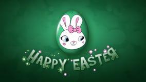 Gelukkige Pasen-aanhangwagen 30 van de animatietitel FPS-donkergroene bellen stock illustratie