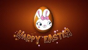Gelukkige Pasen-aanhangwagen 25 van de animatietitel FPS-gouden punten vector illustratie