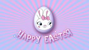 Gelukkige Pasen-aanhangwagen 30 van de animatietitel FPS-oneindigheids roze babyblue stock illustratie
