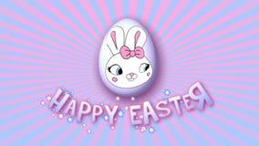 Gelukkige Pasen-aanhangwagen 50 van de animatietitel FPS-oneindigheids roze babyblue royalty-vrije illustratie
