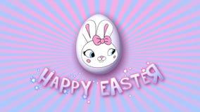 Gelukkige Pasen-aanhangwagen 25 van de animatietitel FPS-oneindigheids roze babyblue royalty-vrije illustratie