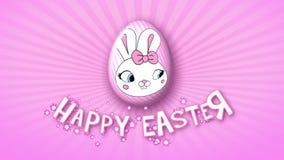 Gelukkige Pasen-aanhangwagen 50 van de animatietitel FPS-oneindigheidsroze stock illustratie
