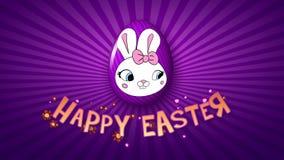 Gelukkige Pasen-aanhangwagen 30 van de animatietitel FPS-oneindigheidsviooltje/purple vector illustratie