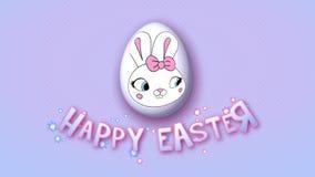 Gelukkige Pasen-aanhangwagen 25 van de animatietitel FPS-punten roze babyblue vector illustratie